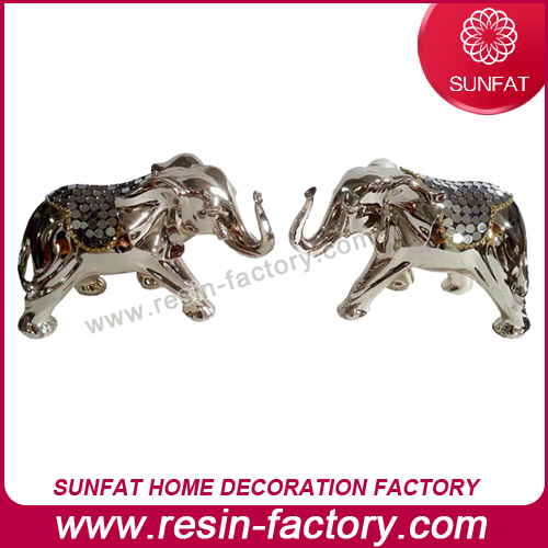 Eye Catching European Home Decor Fancy Resin Crafts Unique Wedding Gifts Exotic Couple Elephant Orna