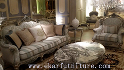 Fabric Sofa Silver Color Living Room Furniture Ff 113