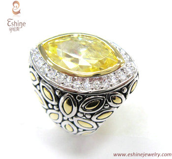 Fantastic Sterling Silver Jewelry Designer Inspired Ring With Marquise Yellow Cz Stones