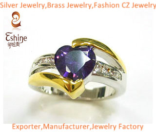 Fashion 925 Sterling Silver Jewelry Ring With Heart Shape Amethyst Cz Stones And Genuine Gold Platin