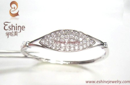 Fashion Full Gemstones Sterling Silver Cz Jewelry Bangle Wholesale