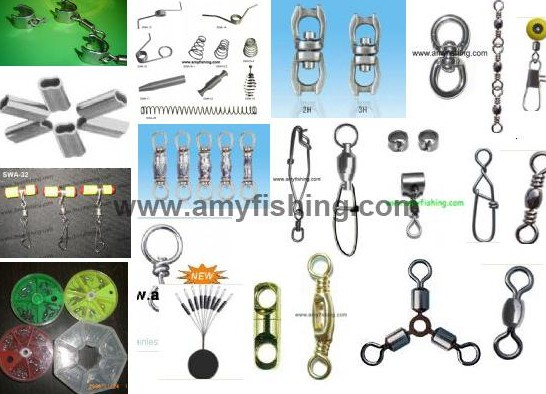 Fishing Swivel Rolling Crane Barrel Snap Box Float Seat 3 Way Sleeve Rings Split Ring Welded Spring