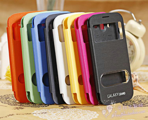 Flip Leath Case For Samsung Galaxy Grand Duos I9082 With Split Rear Opening Screen
