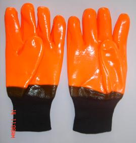 Flourescent Pvc Glove Knit Wrist Smooth Finish