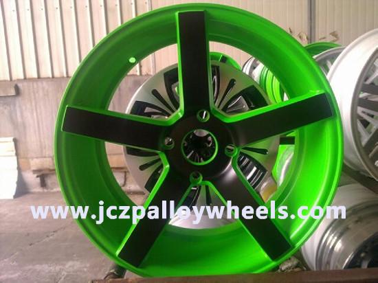 Fresh Green Mahined Face Car Alloy Rims 16x7 5
