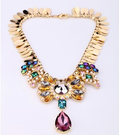 Gemstone Cluster Necklace Multi