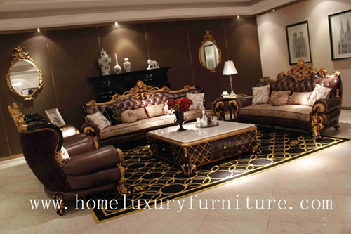 Genunie Leather Sofa Luxury Living Room Furnitue Sets Coffee Table Hot Sale 2014