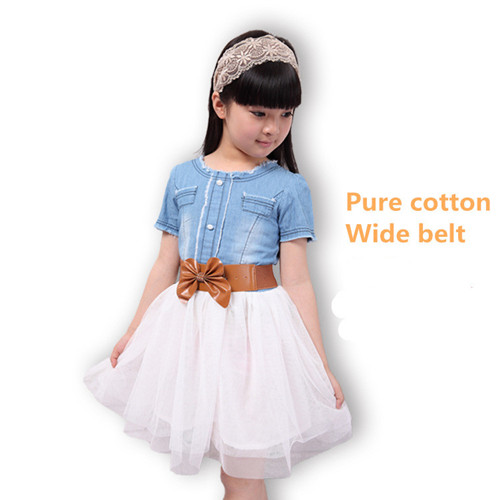Girls Summer Preppy Style Pure Cotton Blue Jean Dresses Voile Short Sleeve With Bow Sashes For 6 13y