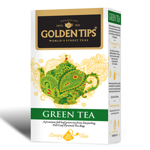 Golden Tips Green Tea 20 Full Leaf Pyramid Bags