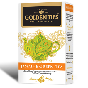 Golden Tips Jasmine Green Tea 20 Full Leaf Pyramid Bags