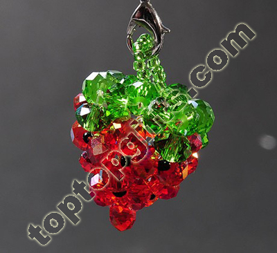 Handmade Beaded Strawberry Charms Fruit Decoraiton