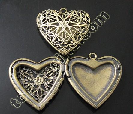 Heart Loctket Pendant Brass Photo Lockets