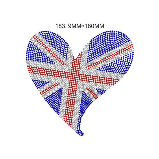 Heart With Flag Rhinestone Heat Transfer