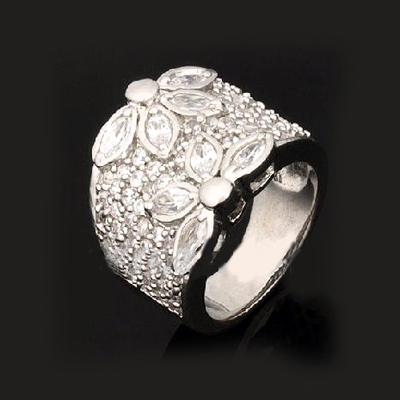 High End Fashion Jewelry Simple Design 925 Sterling Silver Cz Stone Ring Micro Pave Setting Diamond