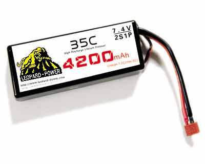 High Rate Leopard Power Lipo Battery For Rc Models 4200mah 2s 35c