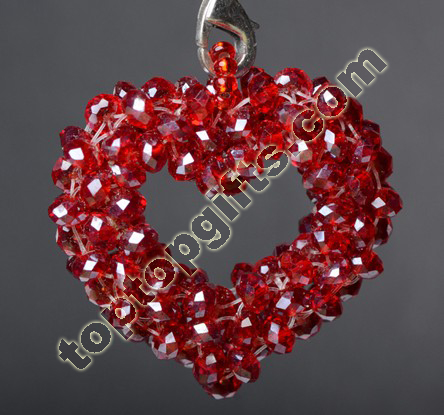 Hollow Crystal Beaded Heart Pendant