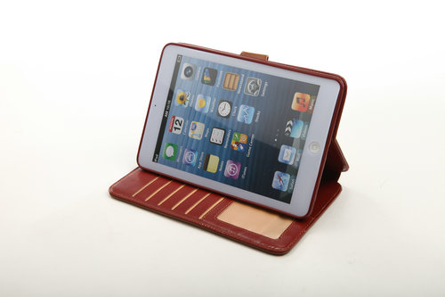 Imported Crazy Horse Pu Leather Case With Standing For Ipad Mini 1 And 2 Gen Few Card Slot