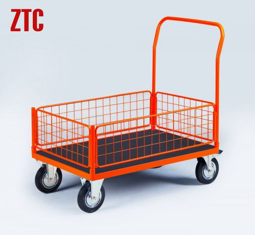 Industry Flat Wire Cart Mobile Flatbed Hand Trolley With Four Mesh Sides Rca 014