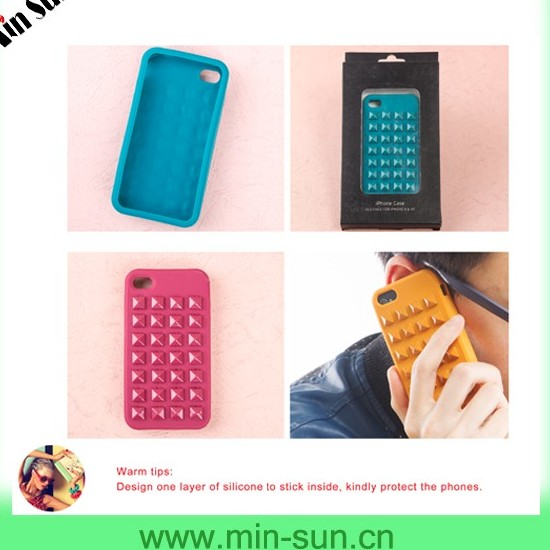 Inovative Colorful Pyamid Studs Phone Case Designs Dustproof Confortable Touch