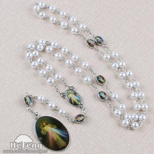 Jesus Rosary Saint S Religious Pearl Pendant Necklace
