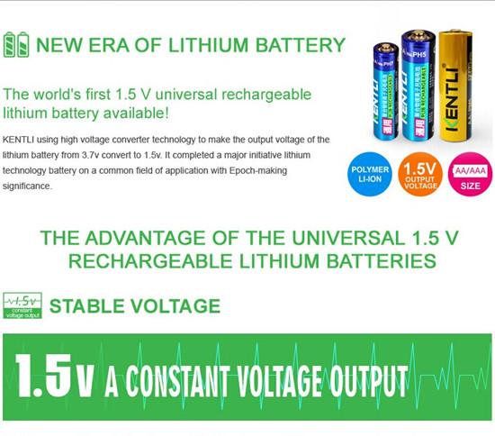 Kentli Rechargeable Li Ion Batteries Aa 1 5v Battery