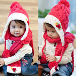 Kids Kitted Wool Winter Hats With Ear Flap