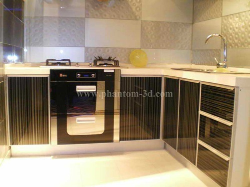 Kitchen Cabinet Decorated With 3d Glass