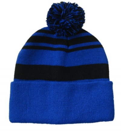 Knitted Beanie Hat With Ball Top