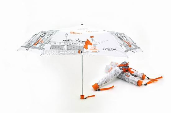 L Oreal 3 Fold Promotional Umbrella With Heat Transfer Printing
