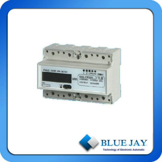 Lcd Display Three Phase Din Rail Mini Power Meter With Communication