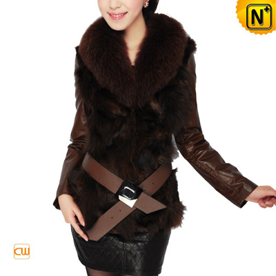 Leather Fur Jacket 2012 Winter Classic Brown Real Fox