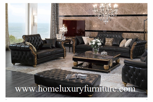 Leather Sofa Classical Sets Black Sofas Wooden Living Room Furniture Ti 003