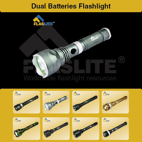 Led Dual Batteries Flashlight Flaslite
