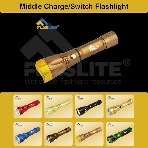 Led Middle Charging Flashlight Switch Flaslite