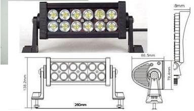 Led Worklight 36w Aluminium 12pcs 3w Light Bar For Jeep Suv Atv