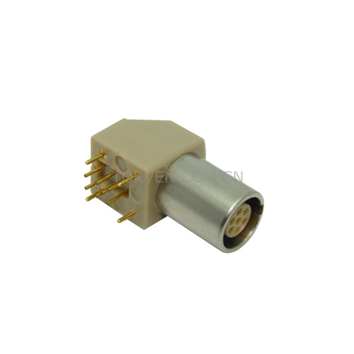 Lemo Connector Fixed Socket With Two Nuts Elbow 90 Contact For Printed Circuit