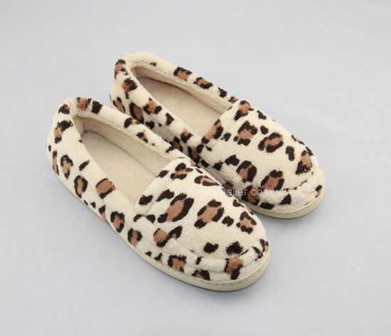 Leopard Microtowelling Cupsole Indoor Slippers Room Shoes