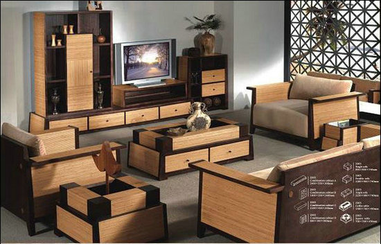 Living Room Bamboo Combination Tv Stand