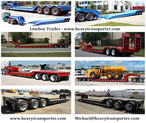 Lowboy Semi Trailer Lowbed Low Loader Extendable Vehicle Modular