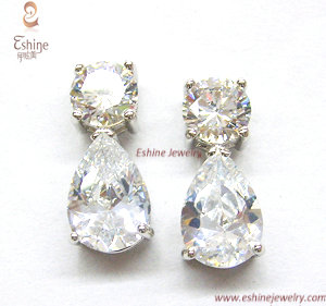 Luxury Sterling Silver Cz Jewelry Earrings With Pear Stones Diamond Wedding Earring