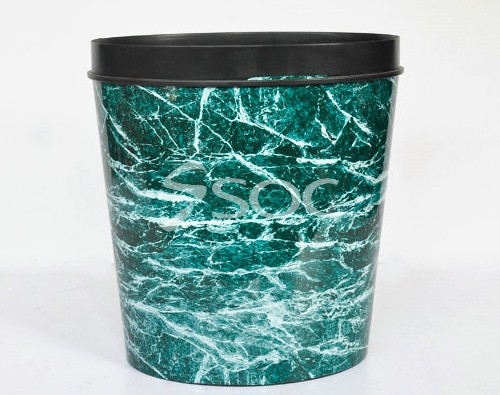 Marble Effect Film Of Cylinder Plastic Trash Cans