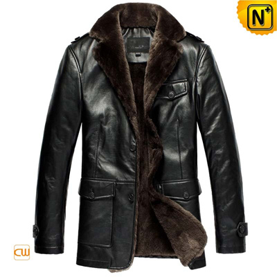 Men Black Sheepskin Leather Coat Cw833337