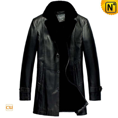 Men S Black Real Fur Lined Sheepskin Leather Coat
