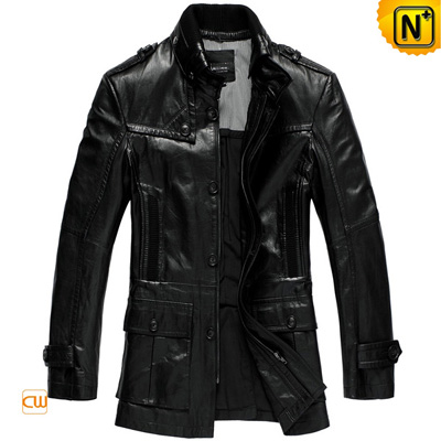 Men S Black Real Goat Skin Leather Hunting Coat