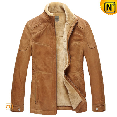 Men S Camel Real Lamb Fur Lined Cowhide Jacket
