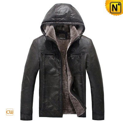 Men S Casual Gray Lamb Fur Lined Leather Hooded Jacket