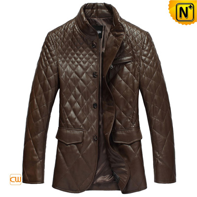 Men S Checkered Design Real Sheepskin Leather Jacket