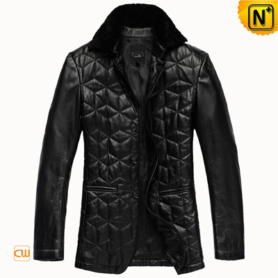 Men S Checkered Slim Black Real Sheepskin Leather Coat