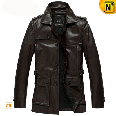 Men S Classic Genuine Goat Skin Leather Hunting Jacket