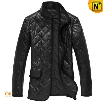 Men S Designer Checker Padded Real Leather Coat